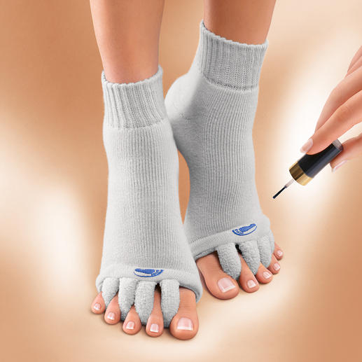 """Wellness-Socken """"Happy Feet"""" Erholung für Pumps-geplagte Füsse. US-patentierte Entspannungssocken für Ihre Zehen."""
