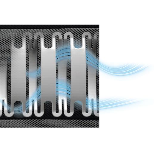 Hohlkammern + atmungsaktiver Mesh-Bezug = gute Luftzirkulation und rascher Feuchtigkeitstransport.