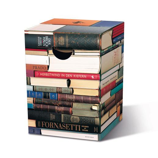 """Falthocker """"Bücherkiste"""" - Platzsparend. Im Nu parat. Fantastisch vielseitig. Zusammengeklappt nur 2 cm dick – in ca. 2 Min. aufgestellt."""