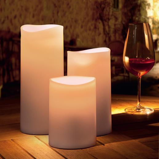 LED Outdoor Kerze Warmes, lebendiges Kerzenlicht – aber gefahrlos und immun sogar gegen Regen.