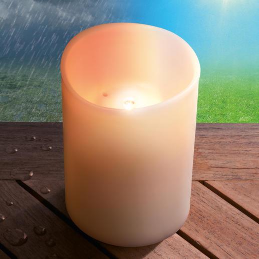 Weder die Sommersonne noch starker Regen können dem UV- und frostbeständigen, tropfwassergeschützten (nach IPX4) Kunststoff schaden.