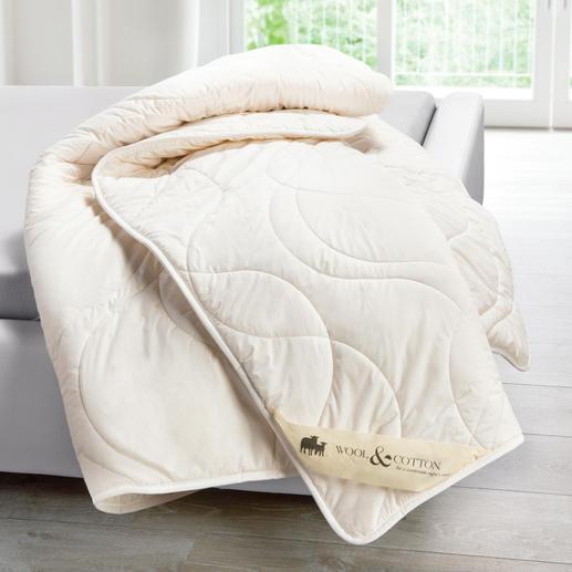 Waschbares Schurwoll-Duo-Steppbett - Der Schlafkomfort natürlicher Schafschurwolle. Jetzt hygienisch maschinenwaschbar bis 60 °C.