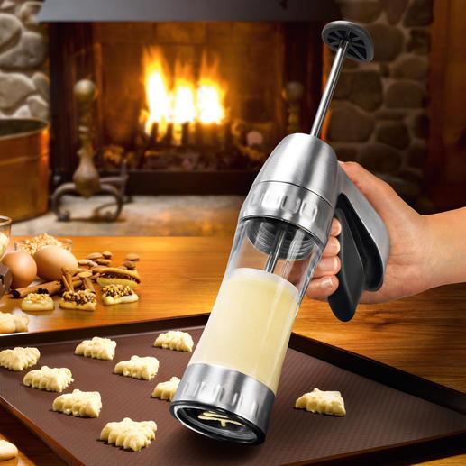 Kekspresse Cookie Pro™ - Jetzt gelingen Spritz- und Biskuitgebäck schnell und einfach wie nie. Mit 16 Formschablonen (statt oft nur 6-10).