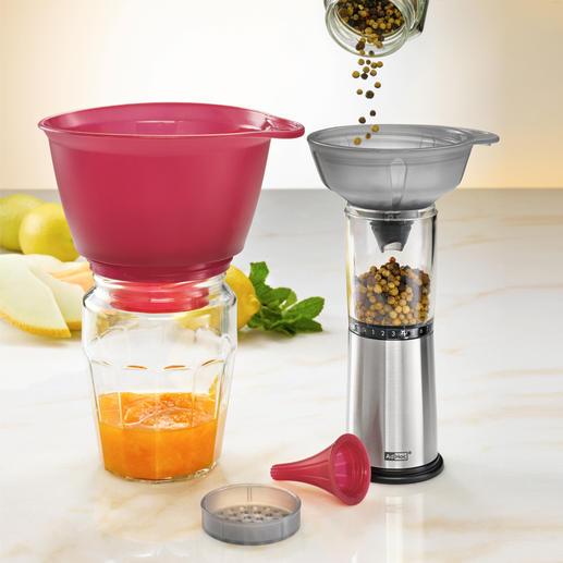 Grosser Trichter ideal für selbstgekochte Marmelade. Der mittlere Trichter erreicht mit seinem Tüllenschnabel auch schwer erreichbare Stellen.