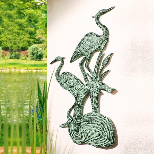 Wandrelief Fischreiher - 86 cm hoch. 100 %ig wetterfest, mit wunderschöner Patina. Aus massivem Aluminium. Elegant für drinnen & draussen.