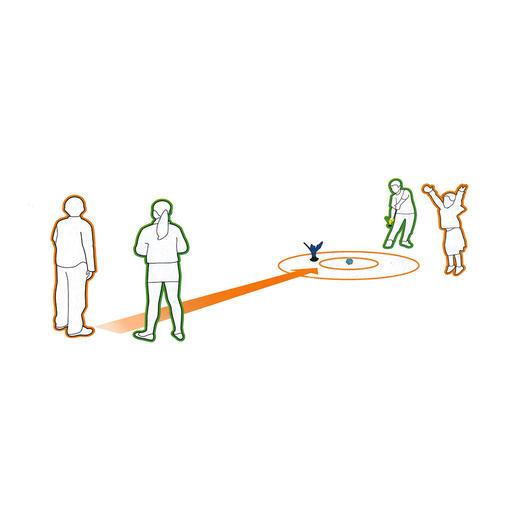 Es ist ganz einfach: Der Pfeil muss möglichst nah am Zielball platziert werden.