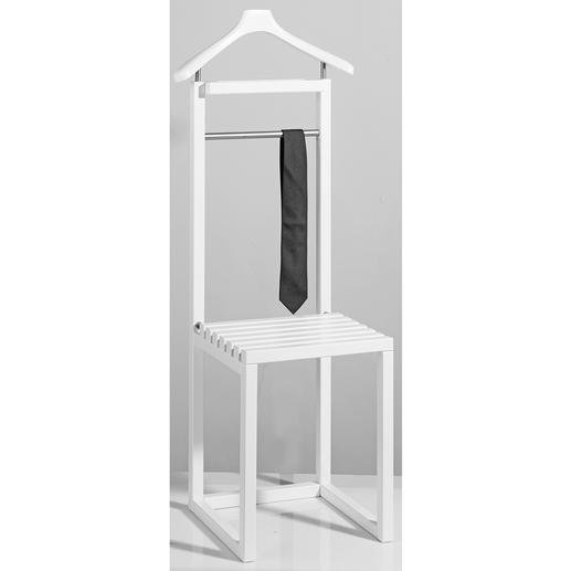 Anzugständer mit Sitz - Stilvoller Butler. Bequemer Hocker. Und praktische Ablage für Taschen.