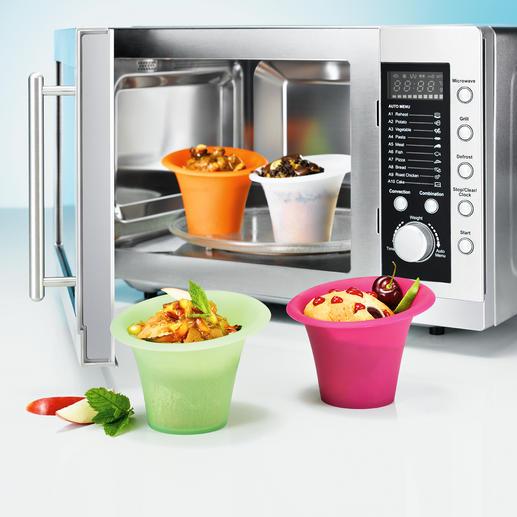 Silikon-Portionsformen, 4er-Set - Beliebte Mini-Kuchen und andere Köstlichkeiten: ruck-zuck in der Mikrowelle gebacken und direkt in der Form serviert.