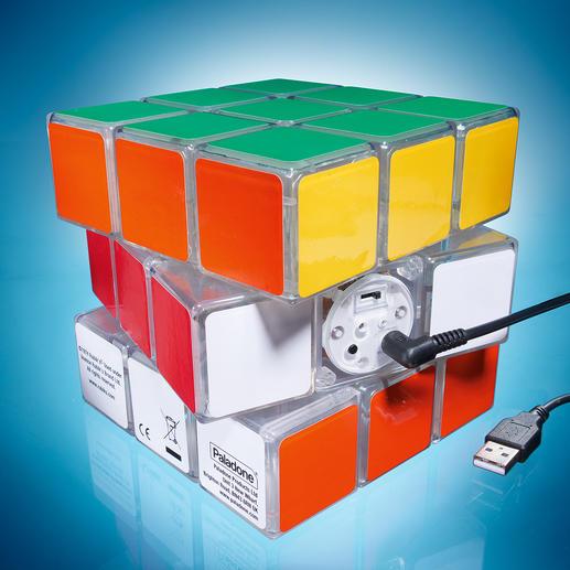 Der eingebaute Li-Ion-Akku liefert Energie für 2 Std. Licht – einfach per USB-Kabel (mitgeliefert) zu laden.