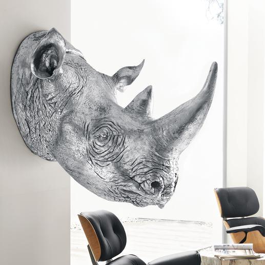 Rhino - Kolossaler Blickfang der Rhinozeros-Kopf als 1:1-Skulptur. Aus Kunstharz handgefertigt & silberfarben lackiert.