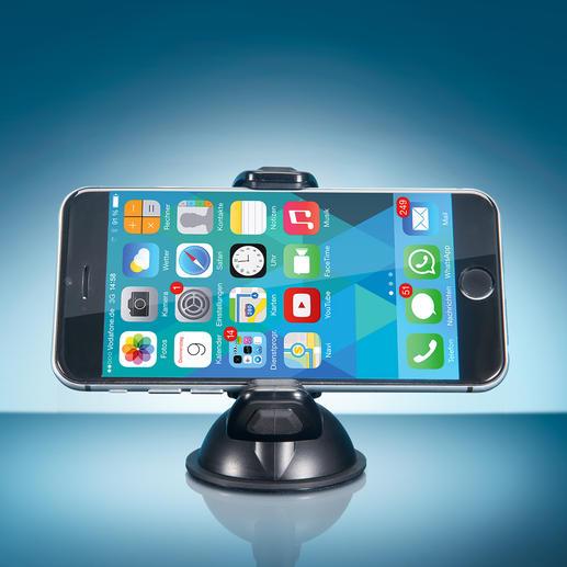 Dank 360° dreh- und kippbarem Kugelgelenk platzieren Sie jedes Mobilgerät im optimalen Blickwinkel.