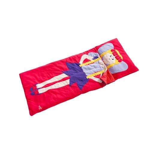 Kissenhülle (seitlich zu befüllen) und Schlafsack sind in einem Stück gearbeitet.