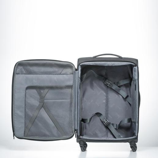 Dank intelligenter Aufteilung mit Spanngurten können Sie Ihr Gepäck gut sortiert und platzsparend verstauen.