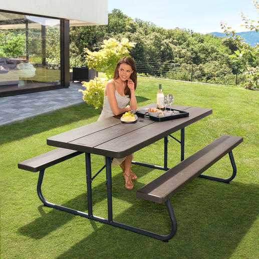 Faltbare Picknick-Garnitur - Platzsparend und transportabel. Stand- und kippfest. Und witterungsbeständig.