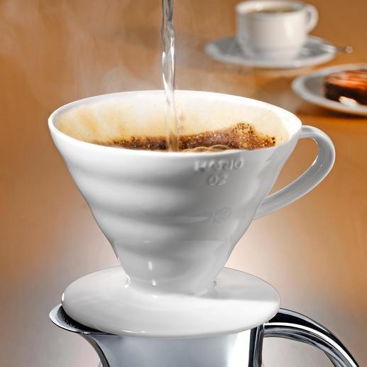 Porzellan-Kaffeefilter Hario - Mit intelligenter Rillenstruktur, 60° Neigungswinkel und grosser Durchflussöffnung.