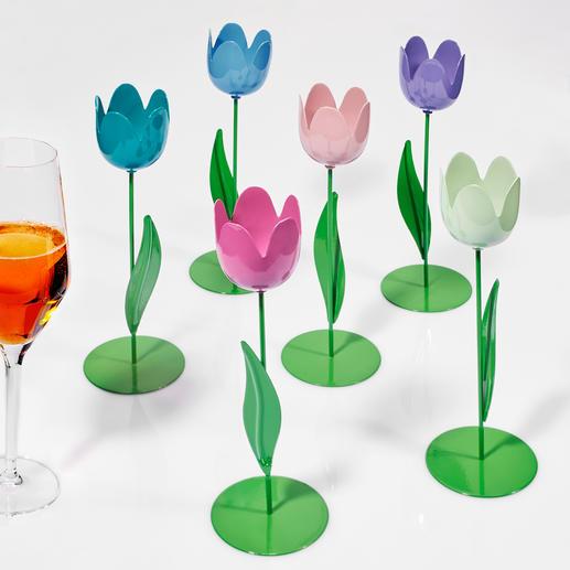 6 Metall-Tulpen, 20 cm H, Pastell