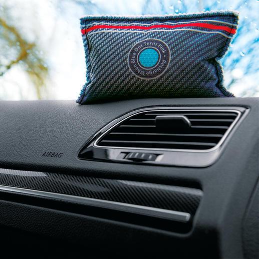 Autoentfeuchter XXL mit Indikator, 2er-Set Schützt vor beschlagenen Autoscheiben. Und zeigt an, wann er getrocknet werden muss.