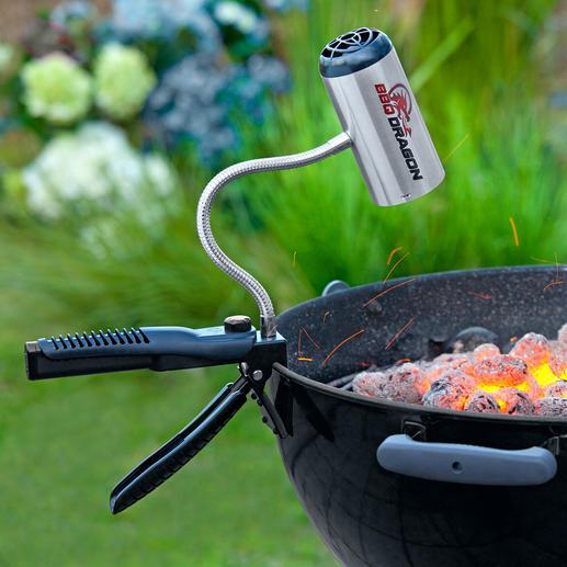 BBQ Dragon - Grillen ohne lange Wartezeit. Mit dem BBQ Dragon ist die Holzkohle in weniger als 10 Minuten durchgeglüht.