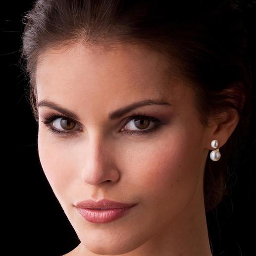 """2-in-1 Ohrringe """"schwebende Perle"""" 1 Paar Ohrringe – 2 Looks: tagsüber dezenter Perlen-Stecker, abends aussergewöhnlicher Perlen-Ohrhänger."""