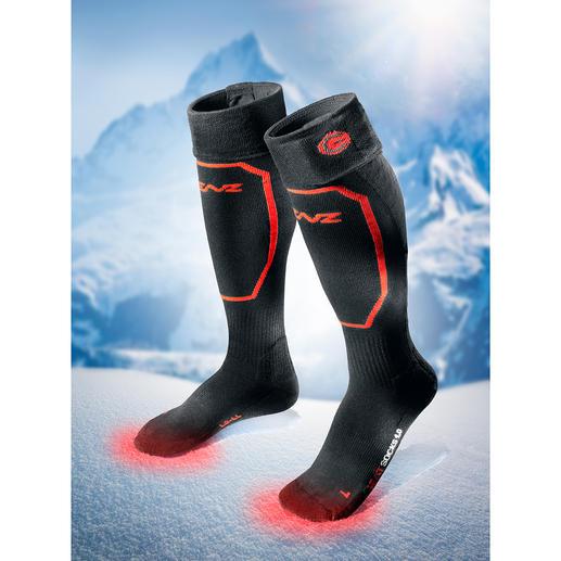 Heizstrümpfe mit oder ohne Akku-Pack, Paar - Der Strumpf mit eingebauter Heizung. Passt in jeden Schuh.  Wärmt bis zu 14 Stunden.