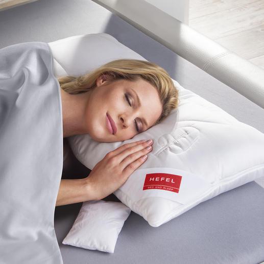 """HEFEL Modulkissen - Wärmer oder kühler. Höher oder flacher. Für jeden Schlaftyp richtig. Das """"Baukasten-Kissen"""" aus 3 Modulen."""