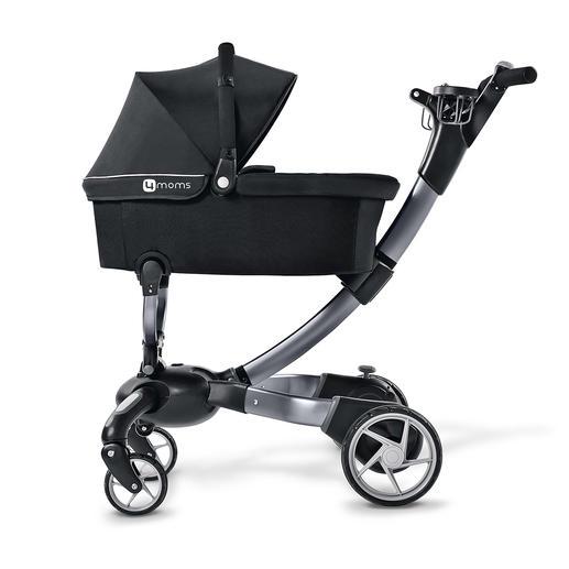 Der separat erhältliche Babykorb ist mit Sonnenschutz, Tragegriff, Soft-Matratze und Fusssack ausgestattet.