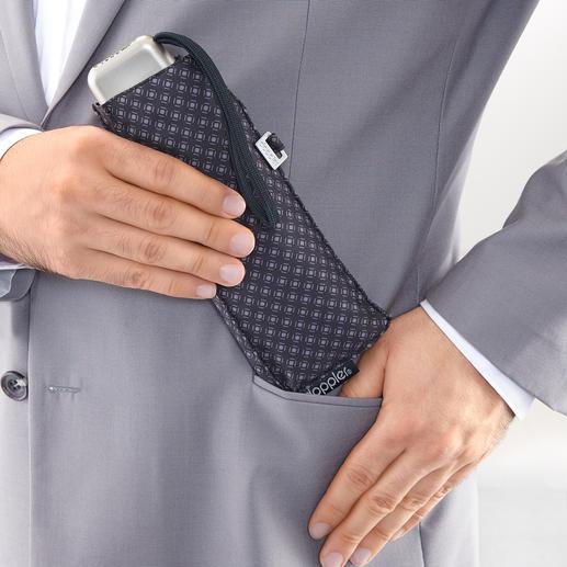 Kaum grösser als ein Brillenetui, passt Ihr Minischirm spielend in die Jackentasche.