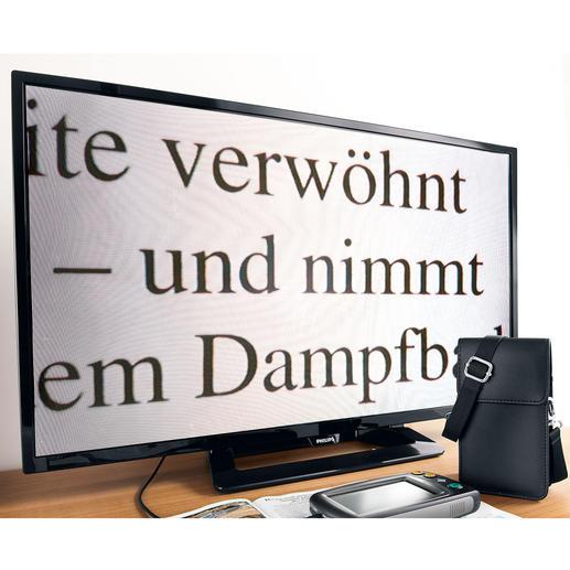 Zum Betrachten der Dinge auf Ihrem grossen Bildschirm schliessen Sie einfach das mitgelieferte 1-m-Videokabel mit 3,5-mm-Klinkenbuchse an den Fernseher an.