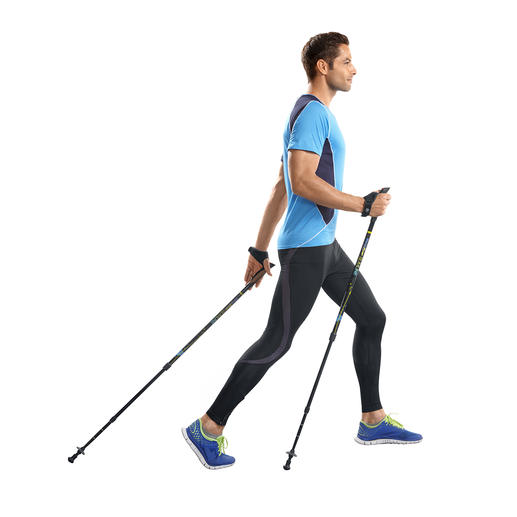 Aktive Walkingstöcke - Effektiver trainieren dank Feder-Widerstand. Belegt durch eine Studie der Modo Sports Academy, Schweden.