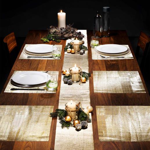 Glitzer-Tischfolien, 9-teilig Glamourös. Dabei ganz unkompliziert. Und erfreulich günstig. Glitzernde Folie dekoriert Ihre Festtagstafel.