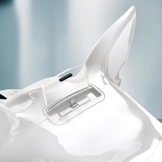 Die neueren iPhones (ab 5) und iPods (touch ab 5G, nano ab 7G) mit Lightning-Connector passen auf den Lightning-Anschluss. Ältere Apple-Modelle einfach per Bluetooth verbinden.