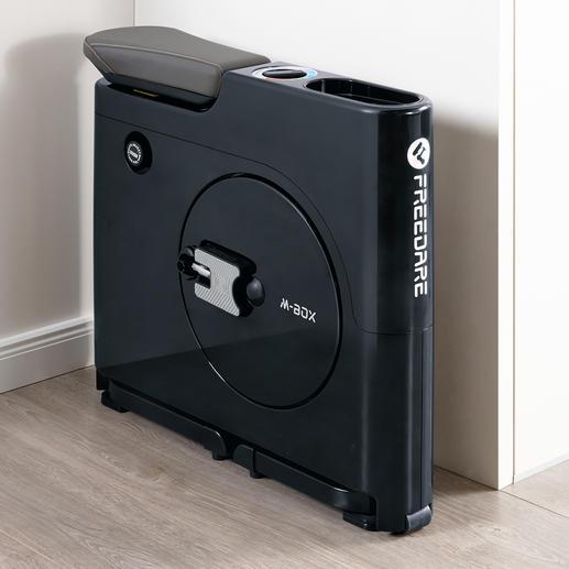 Mit nur 65x 17cm Stellfläche verschwindet dieser Hometrainer auch dezent hinter der Tür, in einer Nische, unter dem Schreibtisch, …