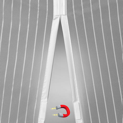 7eingearbeitete Magnet-Paare verschliessen die beiden Vorhang-Hälften selbsttätig nach jedem Durchgehen.