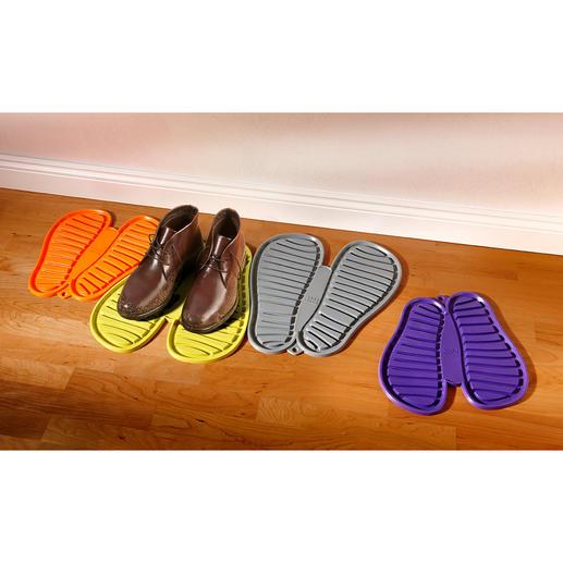 Flexibler Schuhabtropfer - Der Schuh-Parkplatz für die ganze Familie. Beliebig zu kombinieren. Praktisch, dekorativ und farbenfroh.