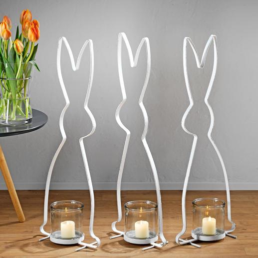 Hasensilhouette - Stilvolle Silhouetten-Skulptur. Hochaktuell im Vintage-Stil aus lackiertem Metall. Stattliche 72 (!) cm gross.