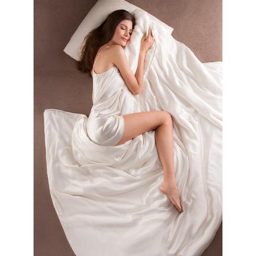 Bettdecke aus Seide, Komfortgrösse 200 x 220 cm Bettdecke und Bettwäsche zugleich. Selten und kostbar. Federleicht, superweich und besonders temperaturausgleichend.