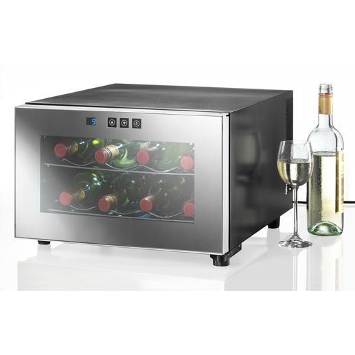 Der querformatige Weinklimaschrank für 8Flaschen passt in der Küche sogar unter Hängeschränke.