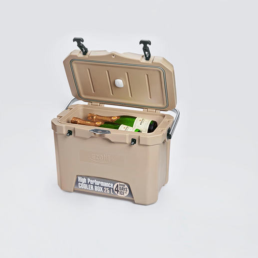 4-Tage-Kühlbox mit Temperatursensor - 3 cm starke PU-Vollschaum-Isolierung hält die Kälte optimal. Selbst bei heissen 32 °C Aussentemperatur.