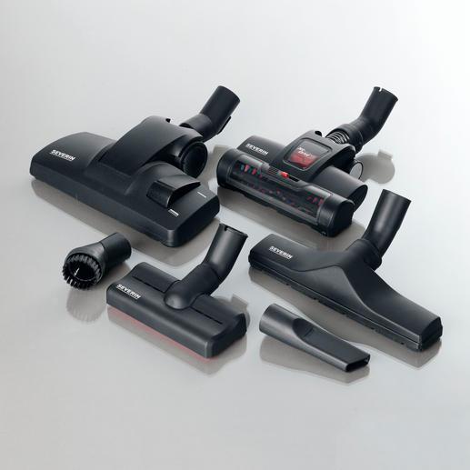 Für jede Aufgabe der optimale Aufsatz: Universal-Bodendüse, Jet Drive Turbodüse, Möbeldüse, Polsterdüse, XL-Parkettdüse und Fugendüse.