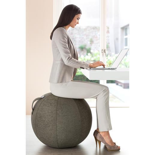 Sitzball Vluv Macht gesundes Sitzen jetzt sogar stylish. Der erste aufblasbare Sitzball mit wertvollem Möbelstoff-Bezug.