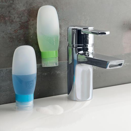 Squeezy Bottles, 2er-Set 100-ml-Silikonflaschen mit auslaufsicherem Verschluss. Handgepäck-geeignet.