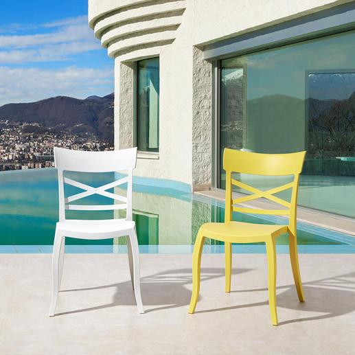 Design-Stuhl in-/outdoor Stylish, wohnlich, wetterfest – der perfekte Stuhl für drinnen und draussen.