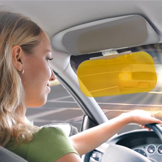 VizClear HD® Blendschutz - Der sichere 2fach-Blendschutz. Einfach abklappen – und Sie sehen detailscharf, kontrastreich, klar.
