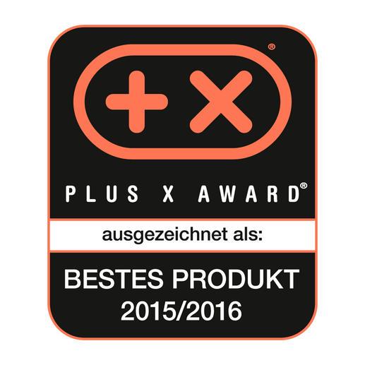"""""""Bestes Produkt des Jahres 2015/2016"""". Von der Jury des Plus X Award ausgezeichnet für Innovation und Funktionalität."""