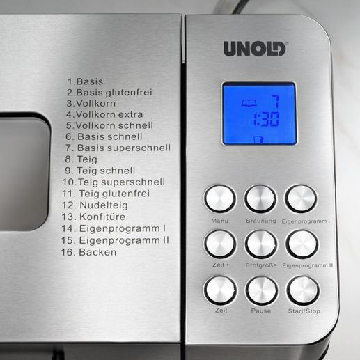 Von den insgesamt 16 Programmen sind 14 voreingestellte Automatik-Programme und 2 für eigene Rezepte.