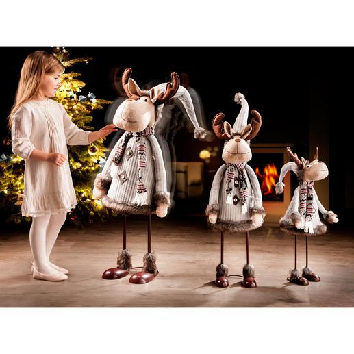 """Tanzender Elch """"Rudi"""" Geschmackvoll gekleidet und passend zu jedem Interieur. In 3 beeindruckenden Grössen."""