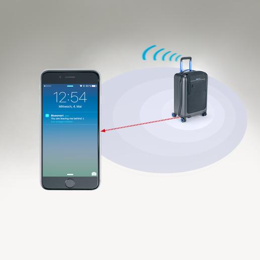 Diebstahlgesichert: Sobald sich Smartphone und Trolley mehr als ca. 10m voneinander entfernen, erhalten Sie eine Info.