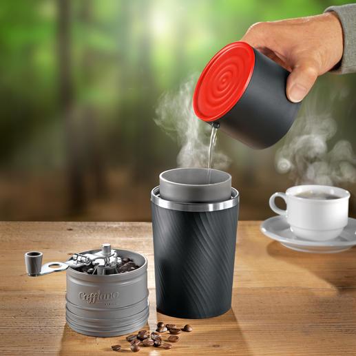 Cafflano All-in-One-Kaffeebereiter Die erste Kaffeebar für unterwegs. Mahlt, filtert, brüht und serviert. Ohne Strom, ohne Steckdose.