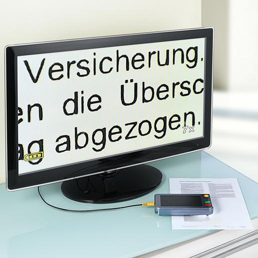 Zum Betrachten der Dinge auf Ihrem TV-Bildschirm mit bis zu 500facher Vergrösserung schliessen Sie einfach das mitgelieferte 3-m-Videokabel mit 3,5-mm-Klinkenbuchse an den Fernseher an.
