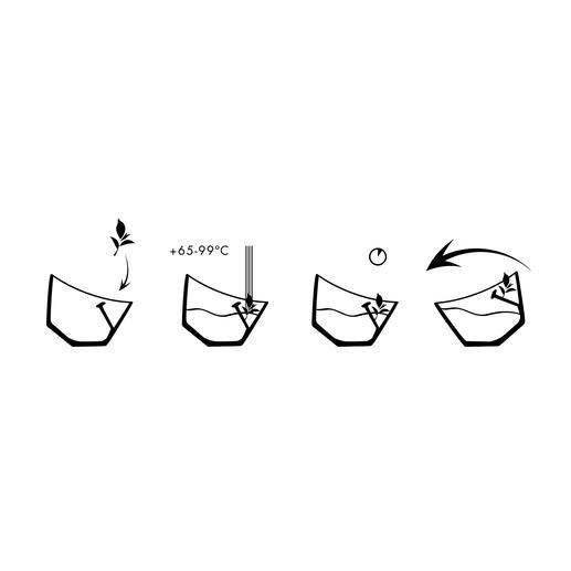 Füllen Sie Tee in das Sieb, kochendes Wasser darauf – und kippen Sie den Becher zum Sieb hin. Möchten Sie den Ziehvorgang beenden, kippen Sie den Becher in die andere Richtung: Sogleich hebt sich das Teesieb aus dem Wasser.